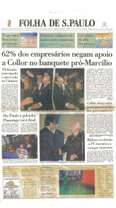 Expo SOS Brasil - Nicolás Uriburu - Folha de S. Paulo - Capa - 9 julho 1992